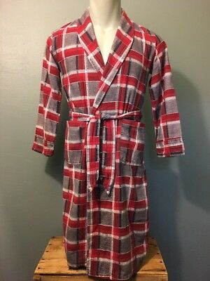 Vtg 50s 60s Kids Shadow Plaid Flannel Bathrobe Youth Boys M-L Belt Robe Red Grey