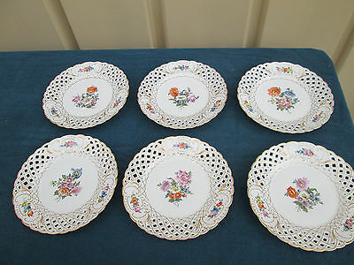 COL SW: Set 6 Porcelain Reticulated and Painted Dinner Plates