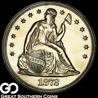 1872 Seated Liberty Dollar PROOF, Highly Collectible Gem PR++, Tough PF!