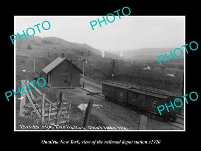 OLD LARGE HISTORIC PHOTO OF ONATIVIA NEW YORK, THE RAILROAD DEPOT STATION c1920