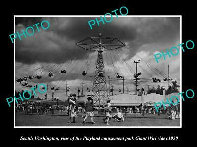 OLD LARGE HISTORIC PHOTO OF SEATTLE WASHINGTON, PLAYLAND GIANT WIRL RIDE c1950 2