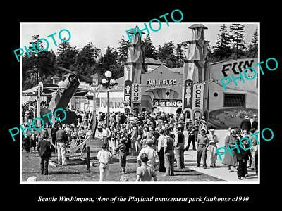 OLD LARGE HISTORIC PHOTO OF SEATTLE WASHINGTON, THE PLAYLAND FUN HOUSE c1940