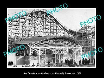OLD LARGE HISTORIC PHOTO OF SAN FRANCISCO PLAYLAND, THE BIG DIPPER RIDE c1920