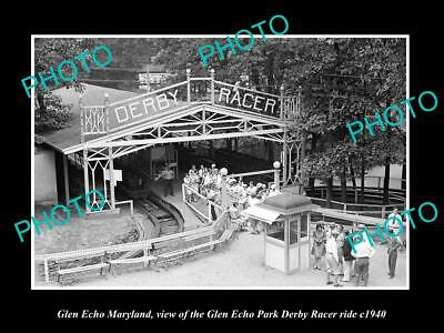 OLD LARGE HISTORIC PHOTO OF GLEN ECHO MARYLAND, THE PARK DERBY RACER RIDE c1940