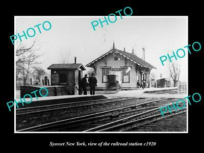 OLD LARGE HISTORIC PHOTO OF SYOSSET NEW YORK, THE RAILROAD DEPOT STATION c1920