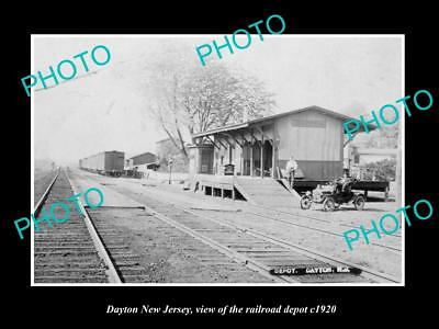 OLD LARGE HISTORIC PHOTO OF DAYTON NEW JERSEY, THE RAILROAD DEPOT STATION c1920
