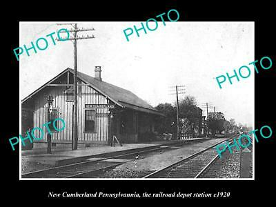 OLD LARGE HISTORIC PHOTO OF NEW CUMBERLAND PENNSYLVANIA, RAILROAD STATION c1920