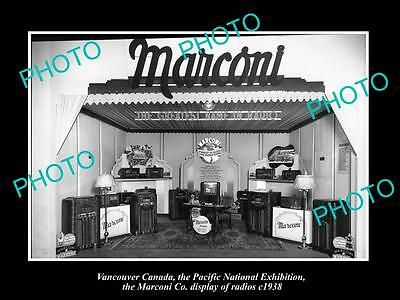 OLD HISTORIC PHOTO OF CANADA INDUSTY, VANCOUVER, THE MARCONI RADIO DISPLAY c1938