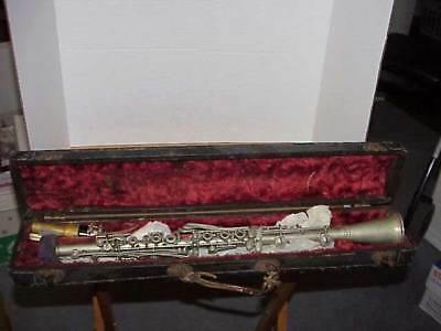 Antique P.X. Laube Metal Clarinet and Case Free Shipping