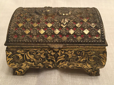 Antique Victorian Ornate Brass Embossed Floral Repousse Small Vanity Trinket Box