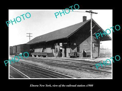 OLD LARGE HISTORIC PHOTO OF ELNORA NEW YORK, THE RAILROAD DEPOT STATION c1900