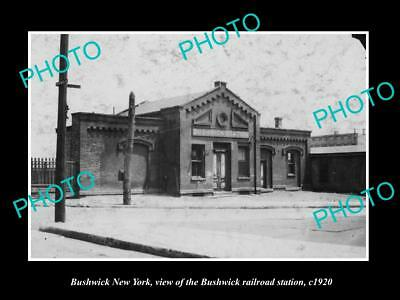OLD LARGE HISTORIC PHOTO OF BUSHWICK NEW YORK, THE RAILROAD STATION c1920