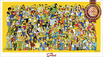 New The Simpsons Characters Cast Tv Show Original Drawn Art Print Premium Poster