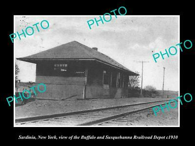 OLD LARGE HISTORIC PHOTO OF SARDINIA NEW YORK, THE RAILROAD DEPOT STATION c1910