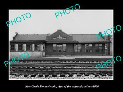 OLD LARGE HISTORIC PHOTO OF NEW CASTLE PENNSYLVANIA, THE RAILROAD STATION c1900