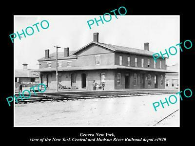 OLD LARGE HISTORIC PHOTO OF GENEVA NEW YORK, THE RAILROAD DEPOT STATION c1920