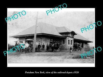 OLD LARGE HISTORIC PHOTO OF POTSDAM NEW YORK, THE RAILROAD DEPOT STATION c1920