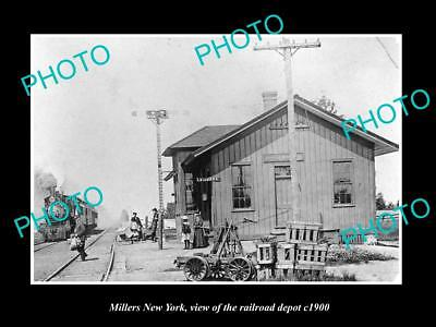 OLD LARGE HISTORIC PHOTO OF MILLERS NEW YORK, THE RAILROAD DEPOT STATION c1900