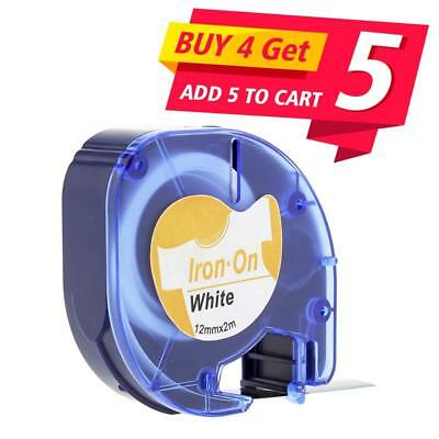 Compatible for DYMO LetraTag 18771 Fabric Iron-on Black on White Label Tape 12mm