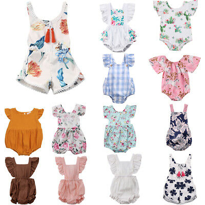 Newborn Baby Girl Flower Ruffle Romper Bodysuit Jumpsuit Outfit Clothes 0-24M