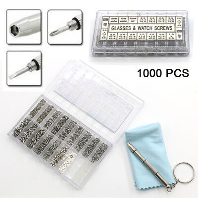 1000pcs Spectacles Glasses Sunglasses Repair Screw Nut Screwdriver Assorted Kit