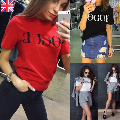Fashion Womens Ladies Summer Loose Tops Cotton Short Sleeve Blouse T Shirt UK