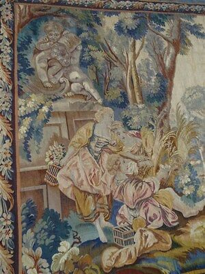 Aubusson tapestry  19th-century time by  François Boucher . birds and cherubinis