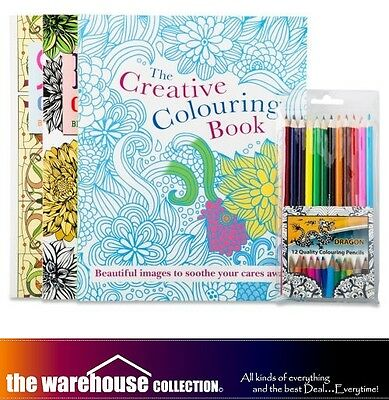 CREATIVE COLOURING ADULT GROWN UPS BOOKS PACK 3 BOOK SET 128 PAGES w/ 12 PENCILS