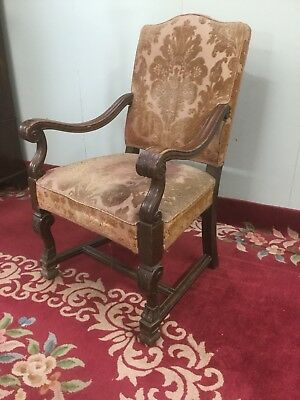 Antique Carved Oak Open Arm Chair For Recovering Sn-783