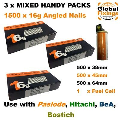 MIXED 38mm,45mm,63mm 16g ANGLED 20° 1.5k Nail Pack & 1 Fuel Cell - Paslode IM65A