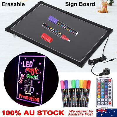 2 Size Flashing Illuminated Erasable Neon LED Message Menu Sign Writing Board