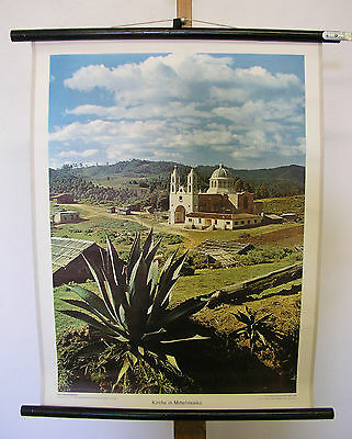 Beautiful Old Schulwandkarte Picture Church in Mittelmexiko 21 11/16x28 5/16in