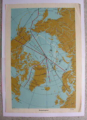Wall Map Arctic Nordpolargebiet Artic North Pole 64x92 Vintage Wall Map ~ 1957