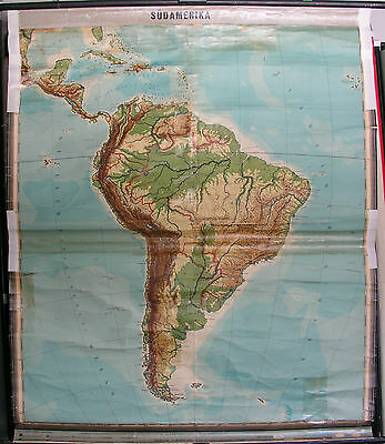 Wall Map South America Brazil Caribbean 1947 57 1/8x68 7/8in Vintage Amazonas