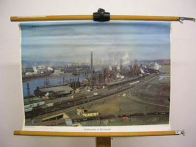 Pretty Wall Picture Steelworks in Pittsburgh Pennsylvania 69x51 Vintage Map~1960