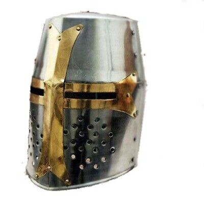 New Super Medieval Knight Armor Crusader Templar Helmet with Brass with stand
