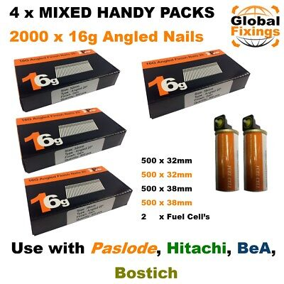 MIXED 2000 16g ANGLED 20° Nails & 2 Fuel Cells-Paslode IM65A (1k 32mm + 1k 38mm)