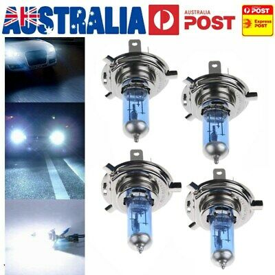 4 x H4 Xenon Car Headlight Globes Halogen Bulbs 6000K 100W 12V Super White Light