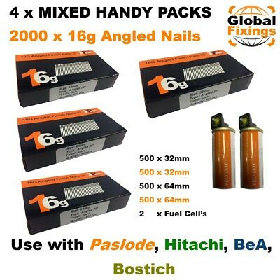 MIXED 2000 16g ANGLED 20° Nails & 2 Fuel Cells-Paslode IM65A (1k 32mm + 1k 63mm)