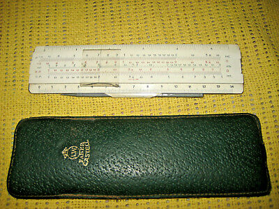 "Rare Vintage Slide Rule Faber-Castell 67-87R ""RIETZ"" . Addiator, leather case."
