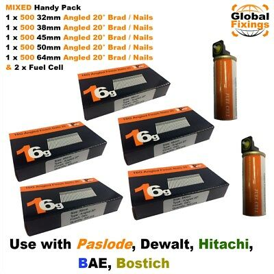 MIXED 2.5k 32,38,45,50,64mm 16g ANGLED 20° Nails & 2 x Fuel Cell Paslode IM65A