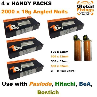 2000 ANGLED 32mm 20° 16g Brad Nails & 2 Fuel Cell's for Paslode IM65A, Hitachi