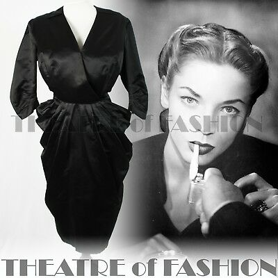 DRESS 40s SILK 50s VINTAGE WEDDING COUTURE 12 14 16 18 SHEATH PEPLUM NOIR VAMP