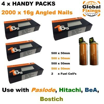 2000 ANGLED 50mm 20° 16g Brad Nails & 2 Fuel Cell's for Paslode IM65A, Hitachi