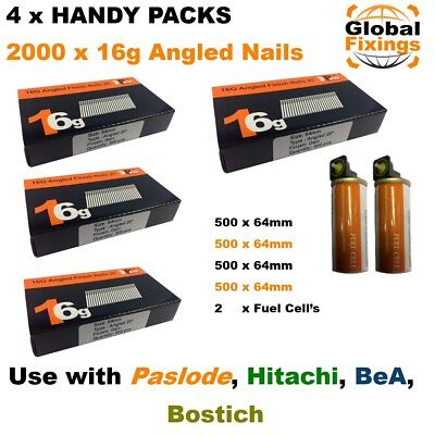 2000 ANGLED 64mm 20° 16g Brad Nails & 2 Fuel Cell's for Paslode IM65A, Hitachi
