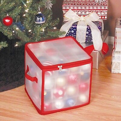 Christmas Tree Bauble Decorations Storage Box Plastic Dividing Sections Holds 64
