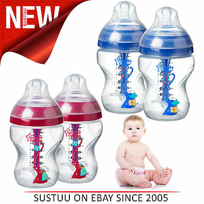 Tommee Tippee Decorated Baby Feeding Bottles 260ml 2Pk│Anti-Colic│Star Valve│NEW