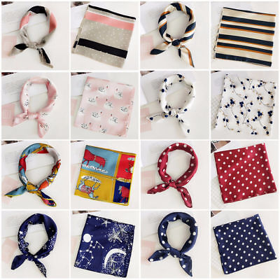 Womens Square Silk Feeling Satin Scarf Small Head-Neck Hair Tie Band Vintage