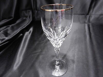 "Gorham Crystal Diamond Gold Wine Goblet Clear Cut Gold Trim 7 5/8"" T c1991-04 TM"
