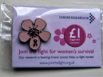 Cancer Research UK Charity Pin Badge -  FLOWER PINK RIBBON - BREAST CANCER